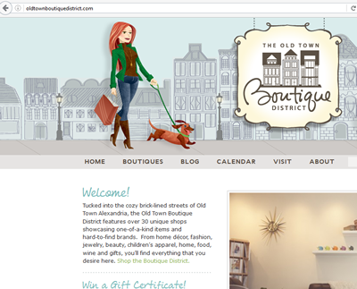 Screenshot of Alexandria, Va. boutique district website.