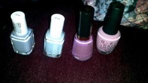 Blue, white and pink nail polish.