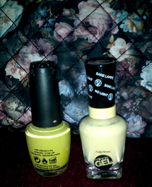 Chartreuse green and lemon yellow nail polish.