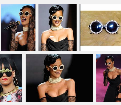 Images of Rihanna wearing pearl CHANEL sunglasses.