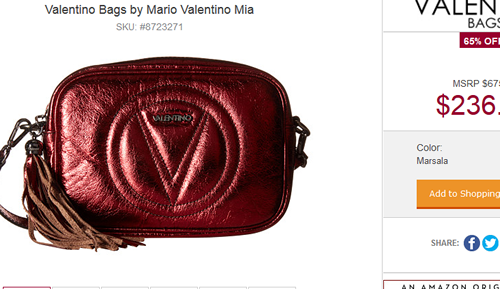 Metallic red Valentino bag.