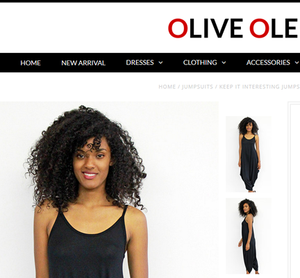 Black jumpsuit from Olive Ole.