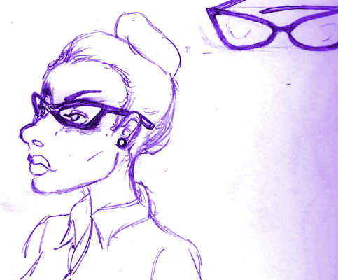 Black woman with high cheekbones and bold catseye glasses.