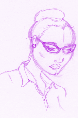 Black woman with high cheekbones, nice shirt and fancy glasses.