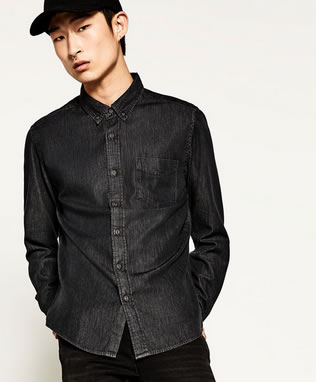 Charcoal gray denim men's shirt.