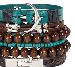 Stack of leather punk blue and ebony men's bracelets with silver anchors and clasps.
