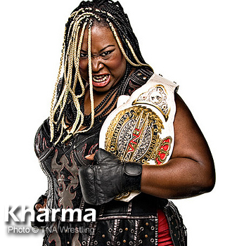 African-American woman wrestler named Kharma.