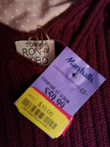 Marshalls price tag showing sweater discounted to $10 from $120.