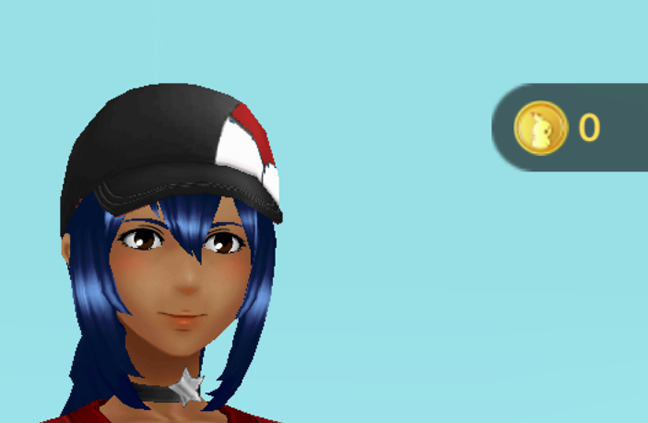 Obie Lee wearing vintage stitched black cap with red and white pokeball. She has no pokecoins.
