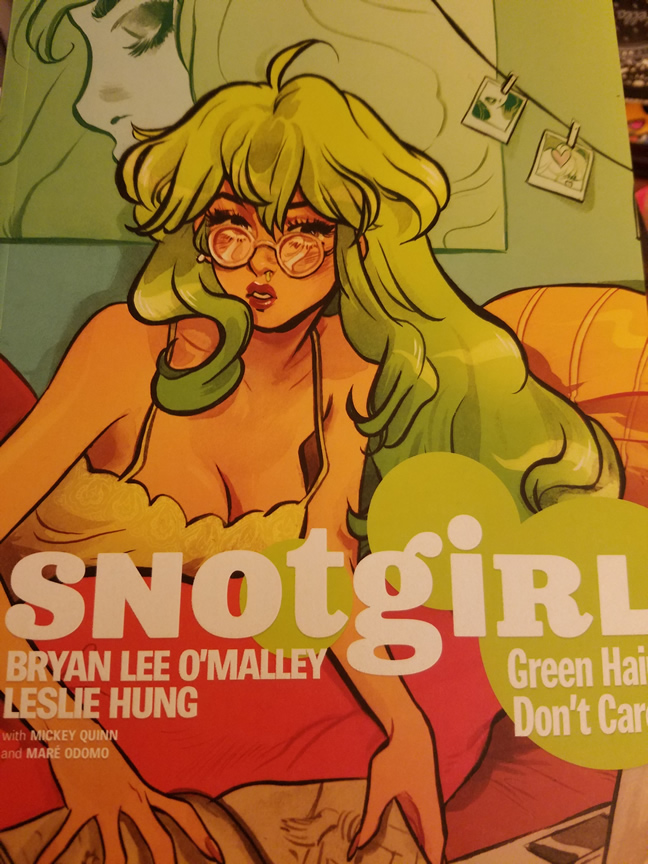 Bright chartreuse green cover of Snotgirl no. 1. Lottie Person stares ahead in a lime haze.
