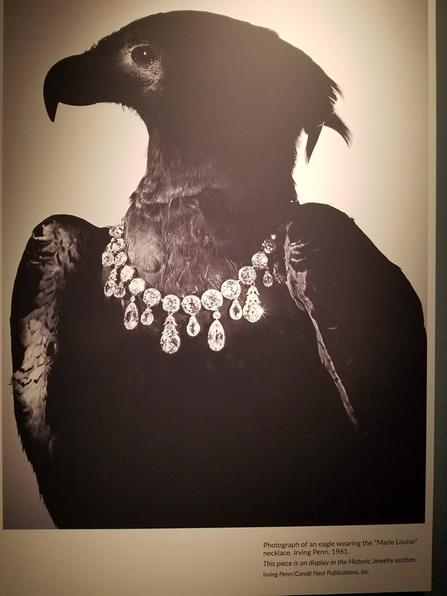 Famous photo of an eagle wearing one of Post's glamorous necklaces.