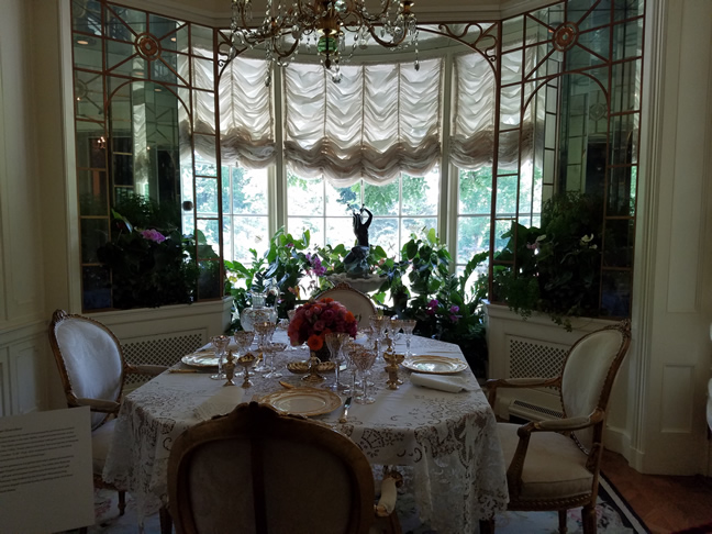Sunlit breakfast room where Post ate her Grape Nuts each morning. I'm not lying about the Grape Nuts, either...