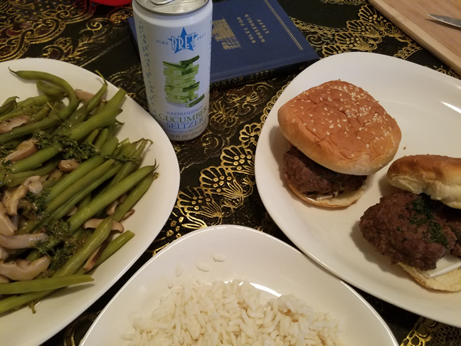 The full meal: steamed green beans and shiitake mushrooms in butter sauce, herb brie burgers and rice. A little cucumber seltzer to drink on the side.