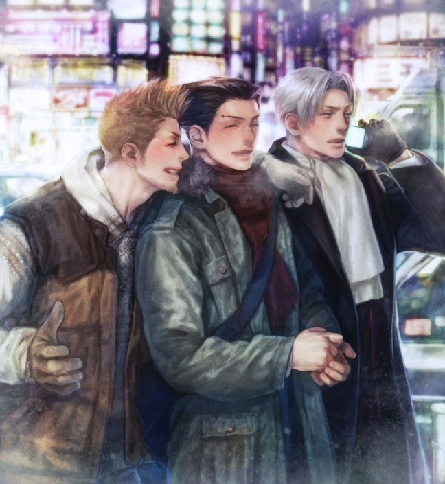 Larry Butz, Phoenix Wright and Miles Edgeworth stroll down the street as friends, laughing and bundled up for the winter.
