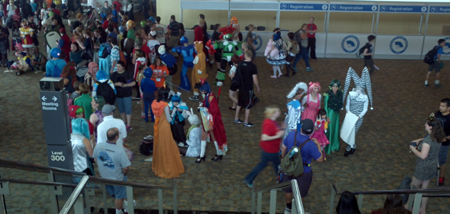 Cosplayers gathered at an Otakon of yesteryear