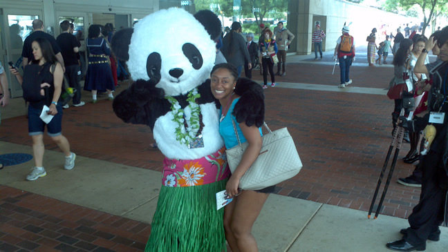 Hugging a random panda bear at Otakon 2014!