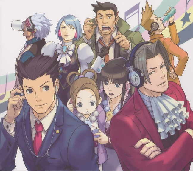 Godot, Franziska, Gumshoe, Larry, Phoenix, Pearl, Maya and Edgeworth all listening to music on their headphones.