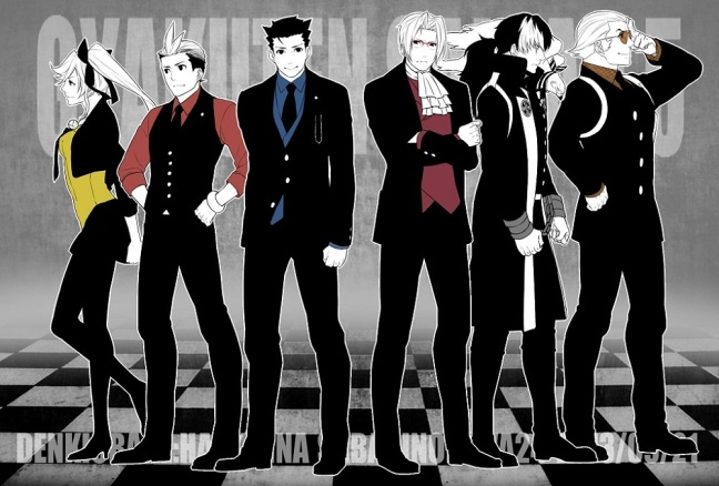 Ace Attorney characters stand in profile.