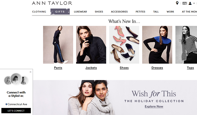 "Screenshot of the lovely ""Wish for This"" gifts at anntaylor.com"