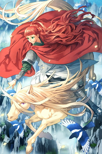 Youko riding on a Kirin over the mountains.