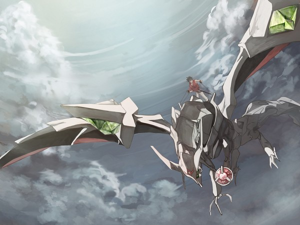 Riding on a Escaflowne as dragon through a sunswept sky.