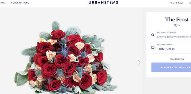 Red and pink roses, sea holly and other beautiful winter-kissed flowers for the holiday.