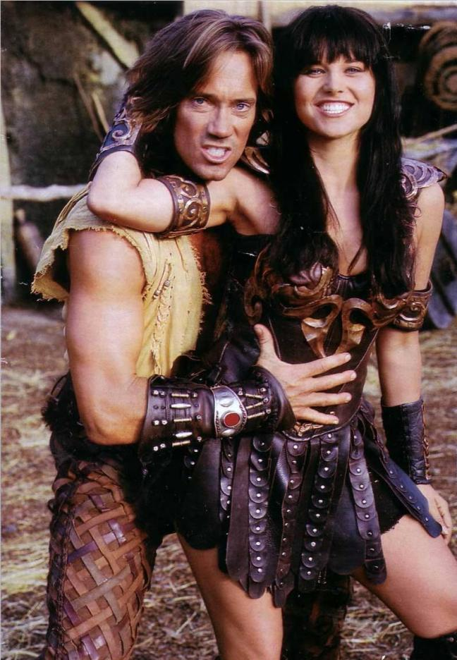 Xena and Hercules in a funny pose.